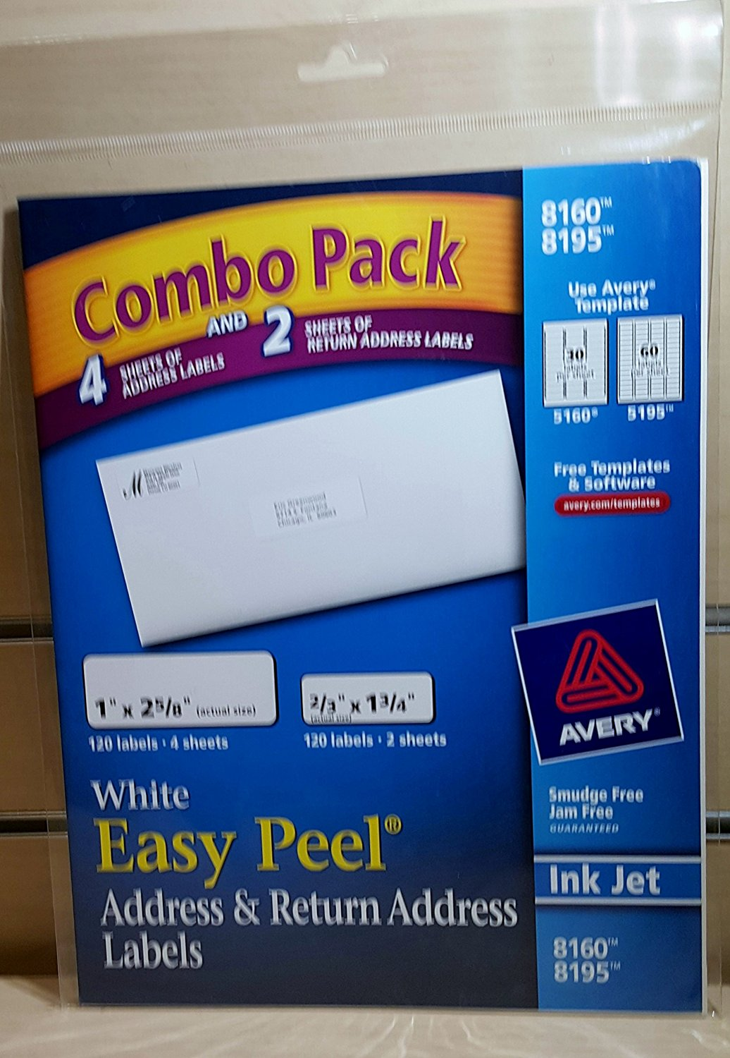 Avery Combo Pack 8160 and 8195 White Easy Peel Address and Return Address Labels