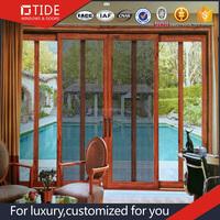 Exterior Aluminium Clad Wood Double Glazing Household Sliding Door With Thermal Break