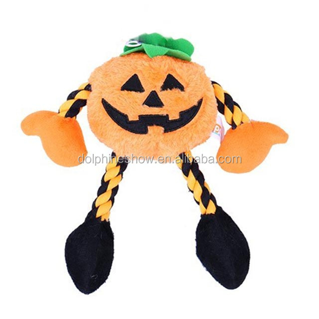 New Design Halloween Pet toy Plush Pumpkin Dog toy With Rope Squeaky Dog Chew Toy
