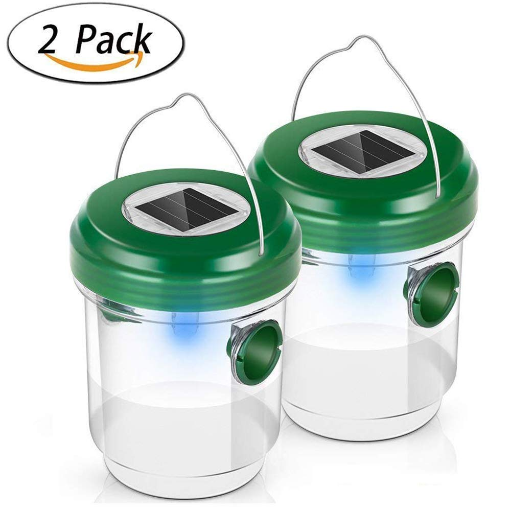 NEWBEGIN Upgraded Version Wasp Trap Catcher,Bee trap,Life Outdoor Fly Trap Waterproof for Trapping Bees, Hornets, Yellow Jackets, Bugs in Home Garden,Solar Powered Wasp Trap with UV LED Light(2 Pack)
