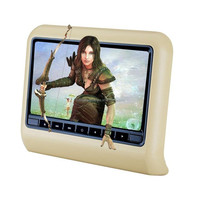 Automobiles 9 inch car dvd headrest monitor with leather zipper,USB,SD,FM,IR audio