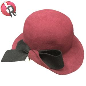 Wholesale Women's Retro Bucket Hat Derby Wide brim Cloche Felt Hat with bowknot and pearl