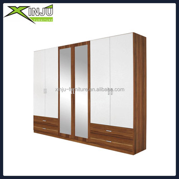 Large Solid Wood 6 Door Wardrobe With Mirror Free Standing Wardrobes Sliding Doors Wooden Product On