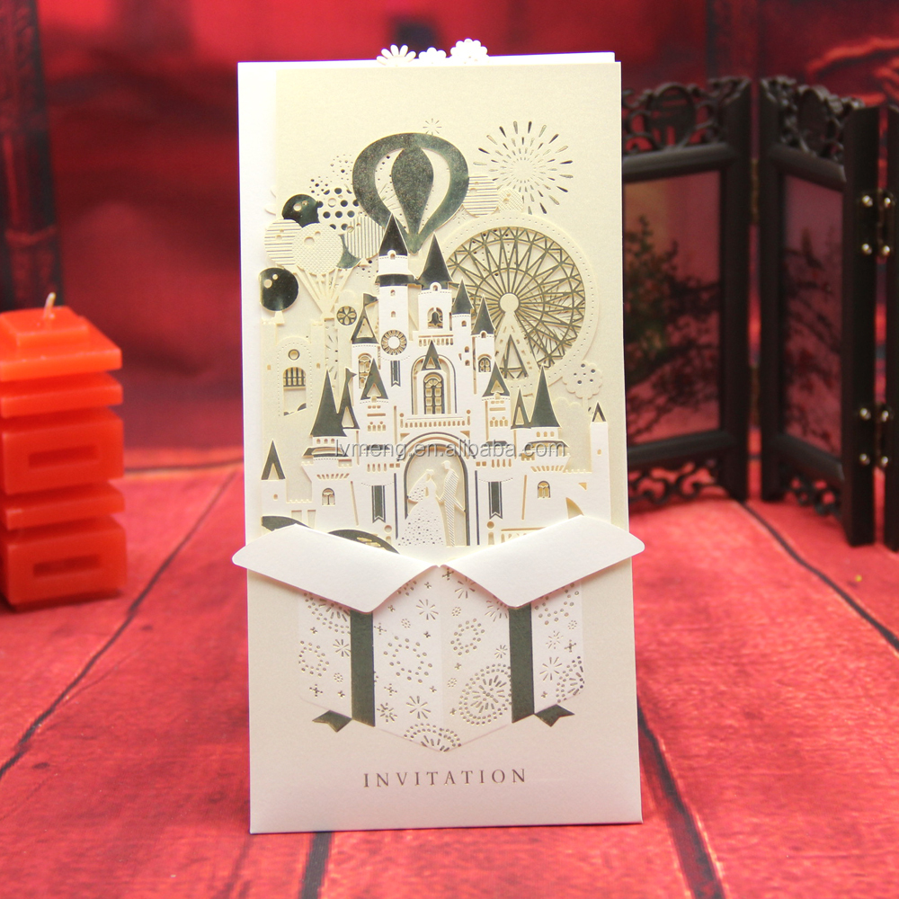 luxury laser cutting castle shaped wedding invitation card gold stamping/roll wedding invitation card