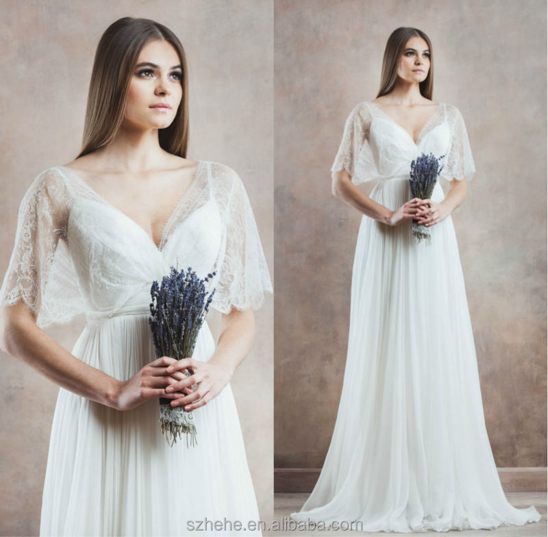 Simple Elegant Country Style Wedding Dresses With Lace: JM.Bridals CW3318 Country Western Style Lace Short Sleeves