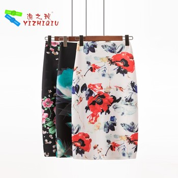 YIZHIQIU Trendy Flower One Step Sexy Pencil Skirts