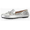 Casual loafers shoes metallic leather with bandage lady moccasin shoes