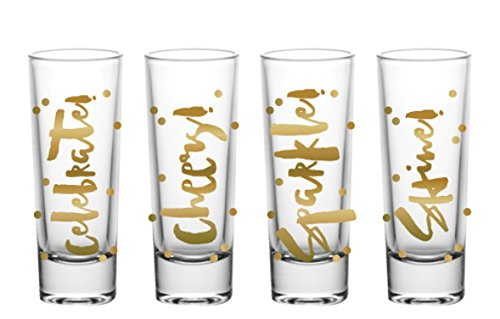 Slant Collections Holiday Shot Glasses, Celebrate, Cheers, Sparkle, and Shine, Gold lettering, 2 oz, Set of 4