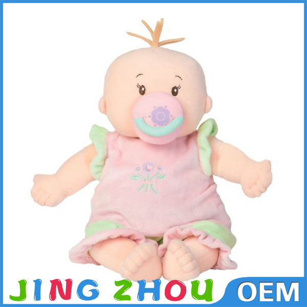 Popular sale lovely plush baby doll with pacifier