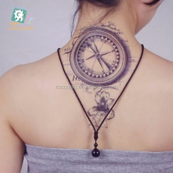 dd52ce62d Lc-302/latest Big Temporary Black Compass Arm Tattoo Designs 21x15cm ...