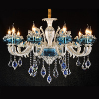 Luxury Big Modern Crystal Chandeliers Exquisite Italian Blue And Clear K9 Oval Pendant Hanging Light