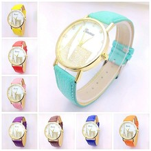 China supplier new products leather band geneva lady watch, women watches