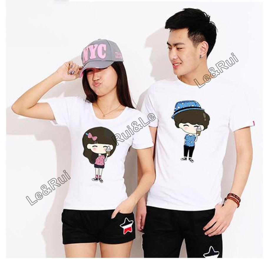 Cartoon Couple Design Tees Shirts Couple Tee Tops T Shirt: Men Women Fashion Couple T Shirt Tops For 2015 Summer