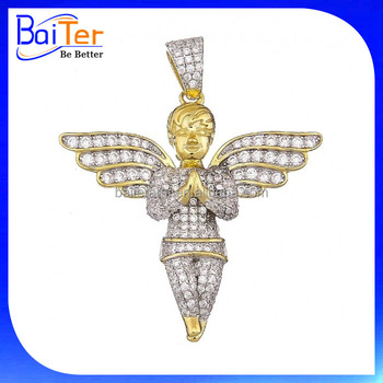 Menwomen micro pave cz angel wing pendant gold plated hip hop menwomen micro pave cz angel wing pendant gold plated hip hop jewelry 925 sterling silver baby aloadofball Image collections