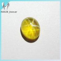 Lab Created Oval Cabochon Yellow Star Sapphire