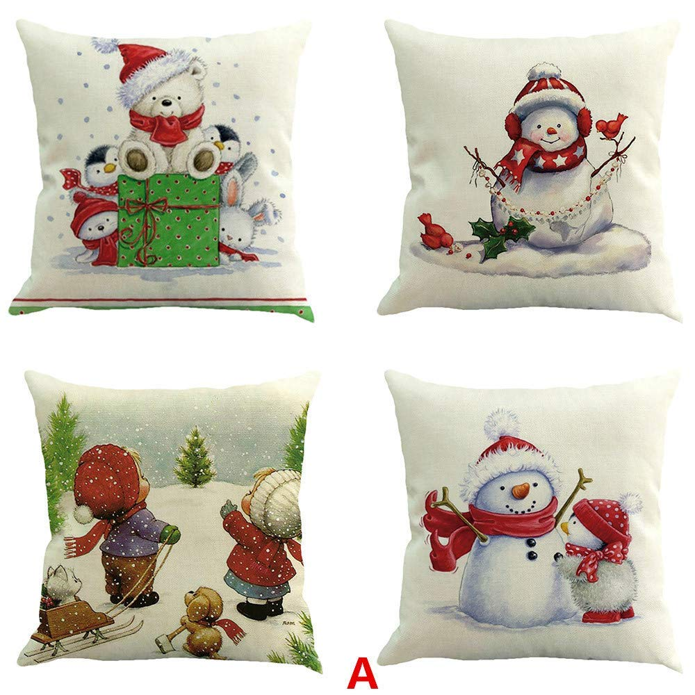 OWMEOT Christmas Pillow Covers 4 Pack, Print Snowman,Christmas Tree,Christmas Deer,Santa Claus, Merry Christmas Decorative Sofa Throw Pillow Case Cushion Covers 18 X 18 Inch,Cotton Linen (A)