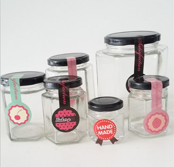 角のガラスジャム瓶ガラス蜂蜜瓶ガラス保存瓶と蓋