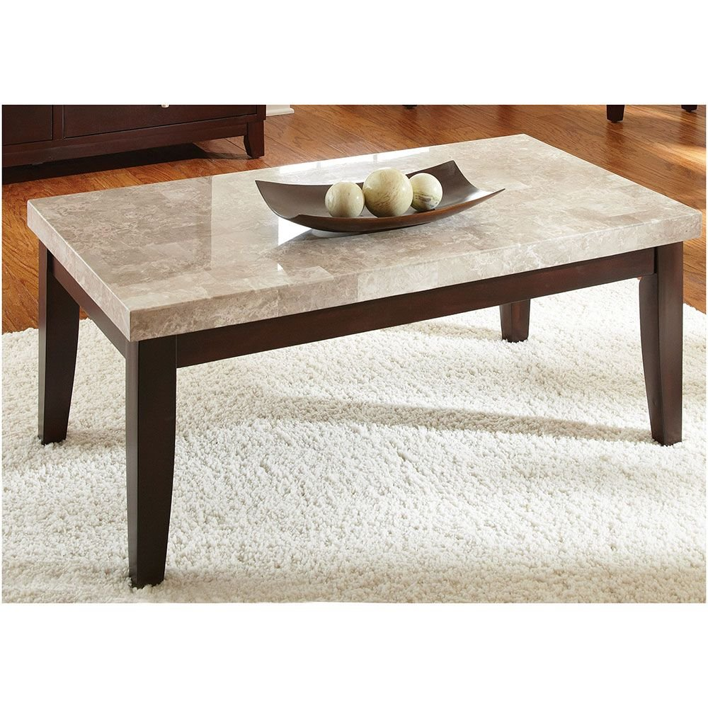 Get Quotations · Monarch Marble Top Rectangular Coffee Table Light Marble  Top/Dark Cherry Veneer Base Dimensions: