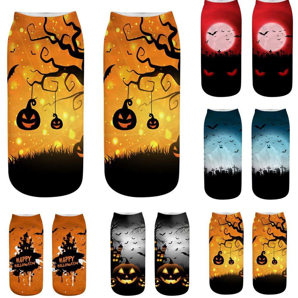 Cute Casual Business Socks 3D Halloween Pumpkin Printing Medium Sports Socks