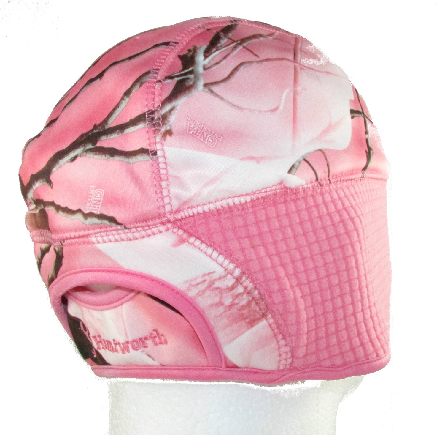 b40ceec873049 Ladies Pink Camo Performance Fleece Beanie Hat with Pony Tail Slot in Back
