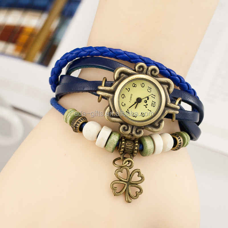 Fashion Ladies Vintage Quartz Leather Braided Charm Lady Watch Women Wrist Watch