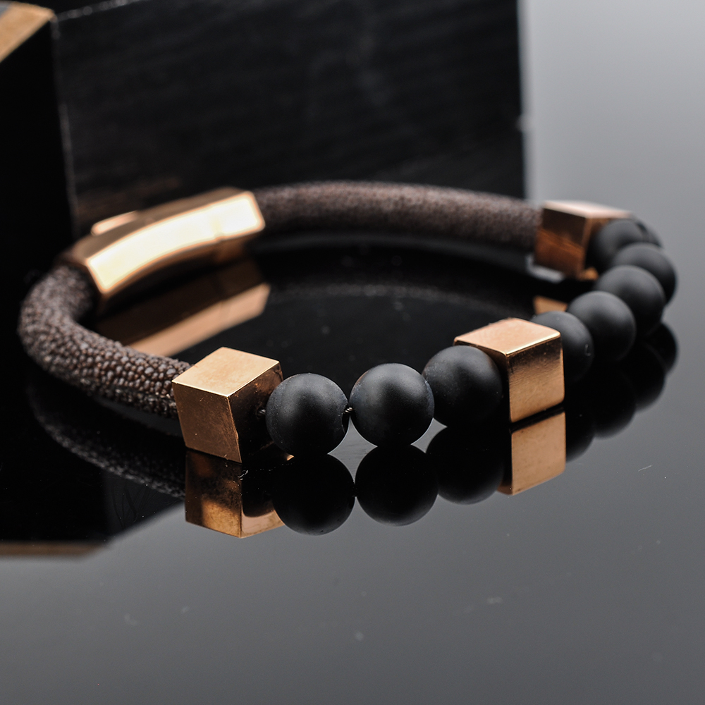 Alibaba Wholesale Men Jewelry Stainless Steel Natural Stone Bead Stingray Leather Bracelet