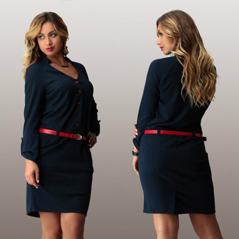 2fb6fe7e8c7 L-3XL 4XL 5XL 6XL 2016 Large Big Size Women Dress Casual Long Sleeve V