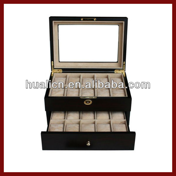 Luxury transparent wooden wach box with 2 layers