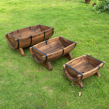 Wooden Planter Boxes Raised Bottom Garden Barrel Planters 3pcs Per Set Buy Barrel Planterswooden Planter Boxesgarden Barrel Planters Product On
