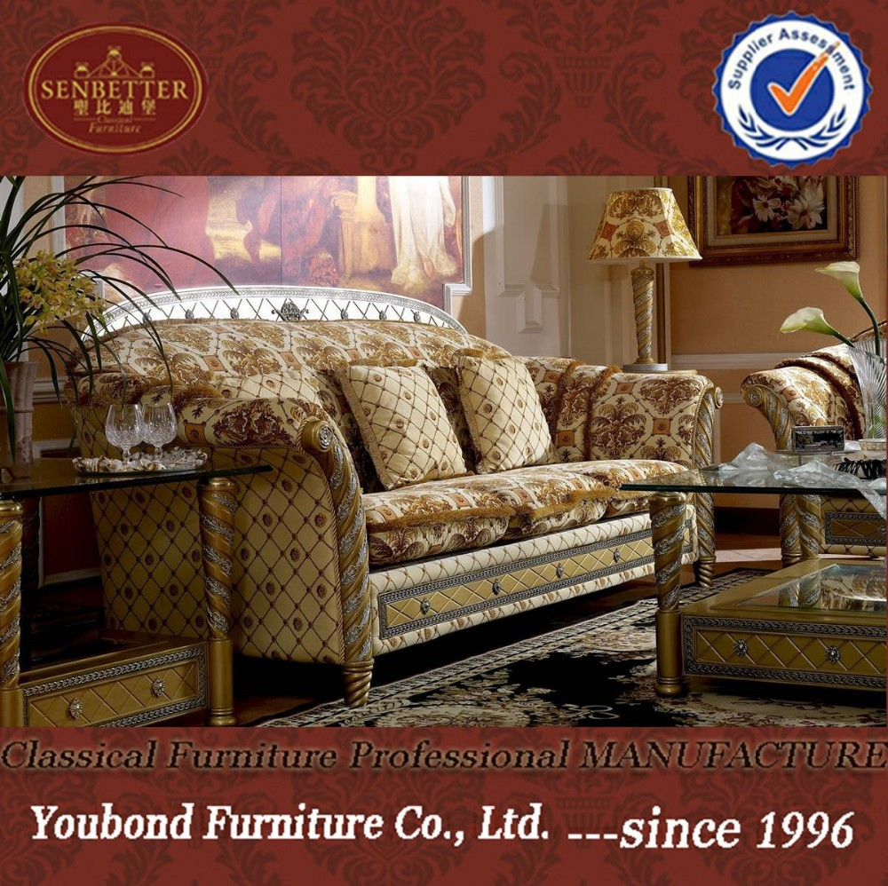 0016 European luxury classic sofa set, villa living room fabric sofa furniture, sofa bed