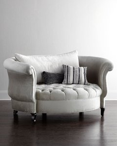 round white fabric sofa seat living room furniture modern home bedroom furniture