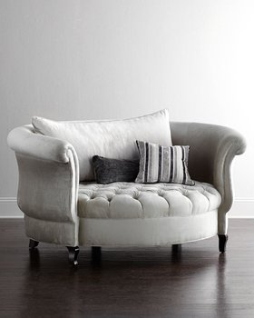 Round White Fabric Sofa Seat Living Room Furniture Modern Home Bedroom Accent Chairs Rococo
