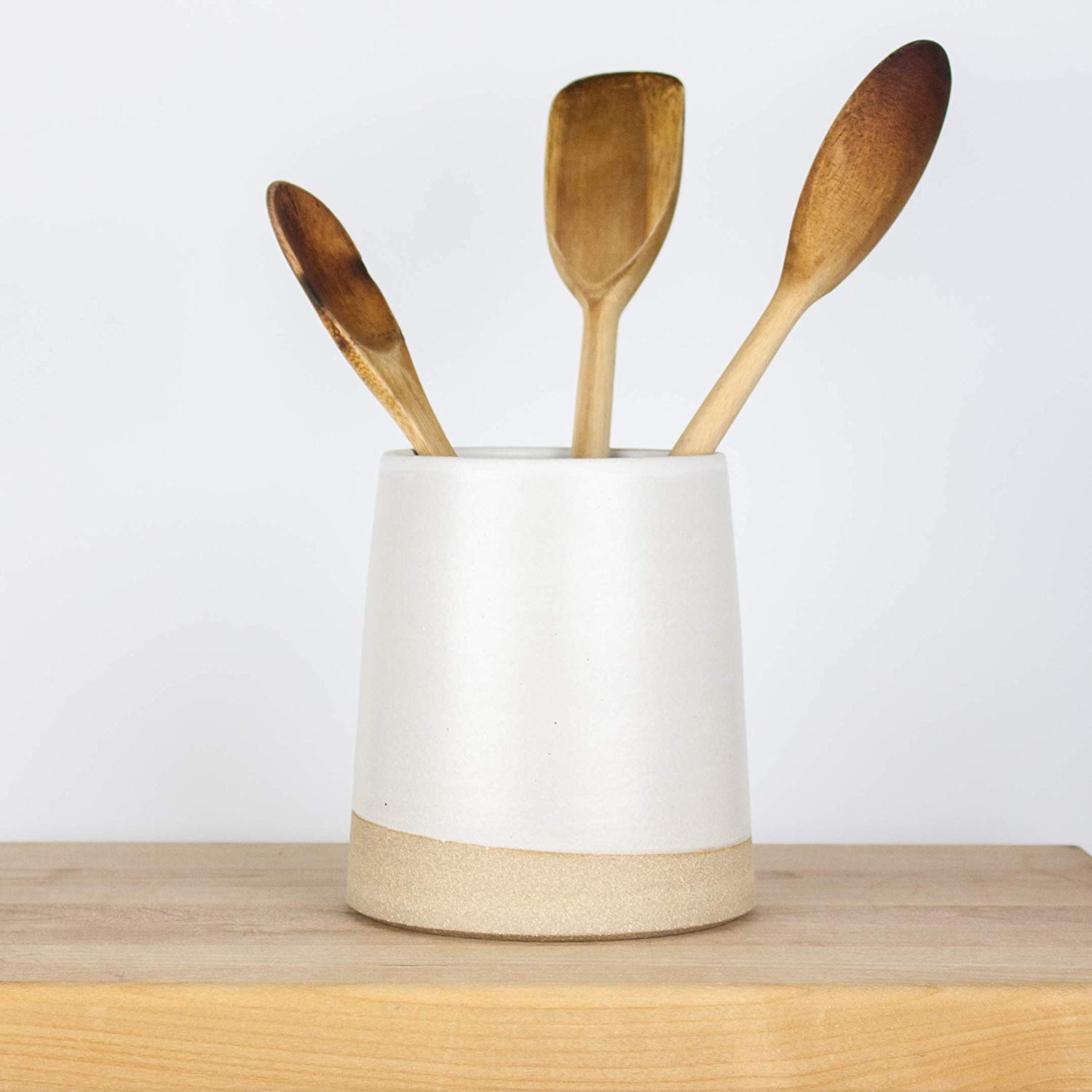 Minimal Modern White Ceramic Utensil Holder By Barombi Studios Crock Caddy