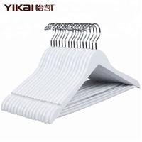 golden supplier YIKAI white wooden hangers for clothes