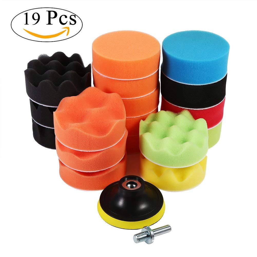 "19Pcs 3"" Polishing Sponge Pad Set, Foam Buffing Pad Kit with M10 Drill Adapter for Car Polisher Sanding Waxing Sealing Glaze"