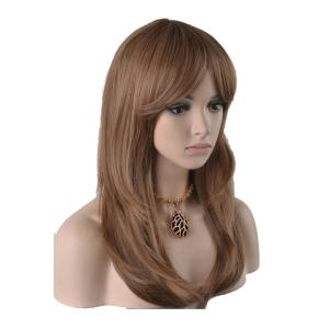Cosplay Middle Long Brown Inner Buckle Women Synthetic Hair Wig