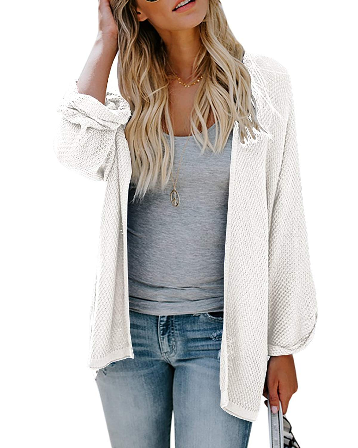 Beautife Womens Cardigans Oversized Casual Knit Open Front Draped Cardigans Sweaters