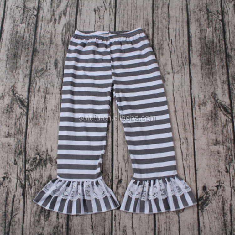 Fashion Baby Girls Boutique black with white stripes with lace children long ruffles pants