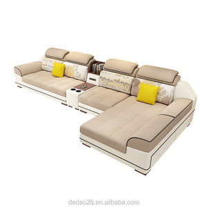 New design Functional PU Fabric recliner sofa headrest adjustment Corner couch Multimedia Function Home Sofa furniture