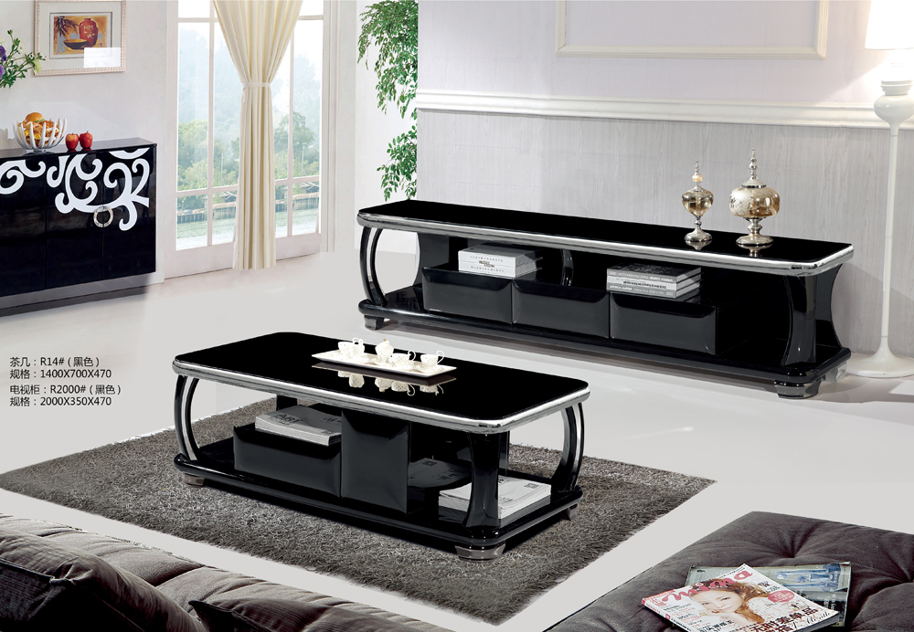 cheap black color wooden tv stand glass top metal decoration tv stand R1800