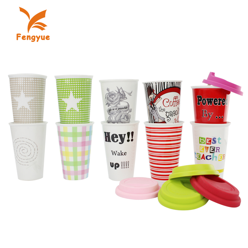 Colorful handless custom 300ml ceramic tumbler travel mug with silicone lid