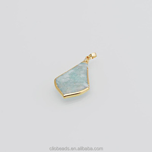 Gold Plated Amazonite Arrowhead Pendant
