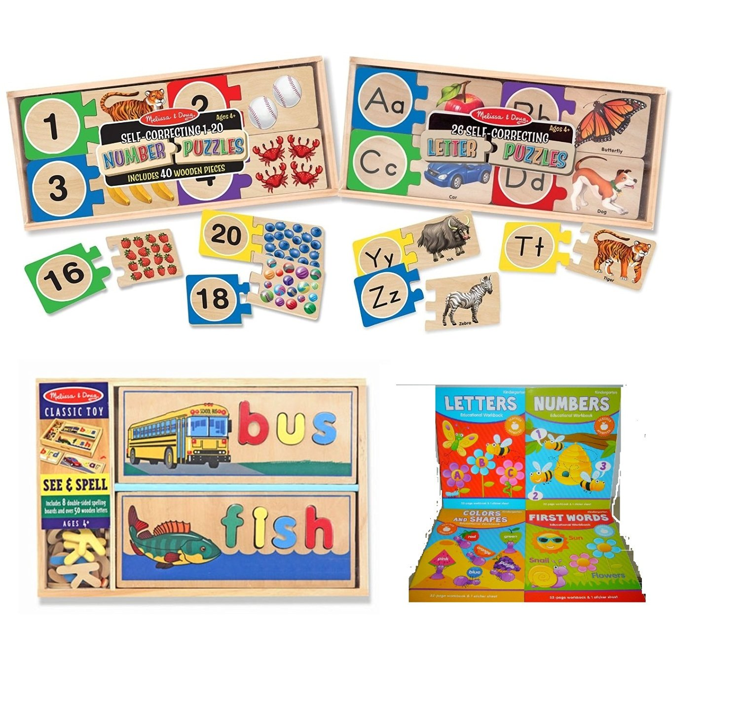 Melissa & Doug Skills Puzzles: Number Puzzle, Letter Puzzle and See & Spell with (1) BONUS Kindergarten Educational Workbook