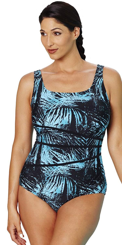 4e7b0f0f55d Get Quotations · Aquabelle Women s Chlorine Resistant Tank Swimsuit