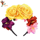 PGHD0987 Halloween Day of The Dead Headband Costume Yellow Rose Flower Crown Mexican Headpiece