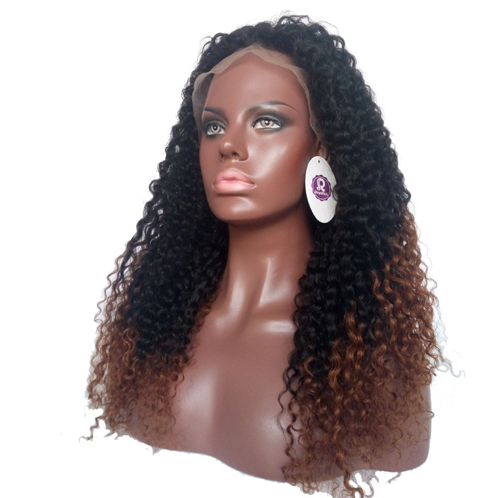 Royal-First Glueless Afro Kinky Curly Brazilian Virgin Human Hair Lace Front Wigs 22inch Long #1b/#30 Two-Toned Ombre Color for Women 150% Density