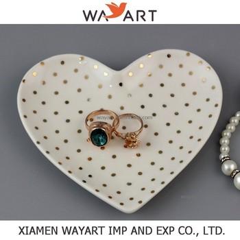 Ceramic heart shaped handmade jewelry and ring dish gold for Heart shaped jewelry dish