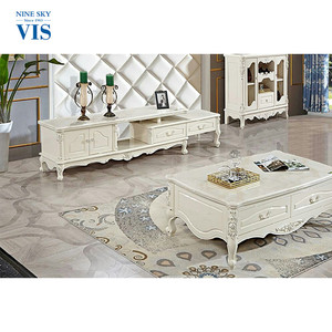 Luxury Classic Living Room Decorative Vintage Coffe Table White, Wooden Table Coffee