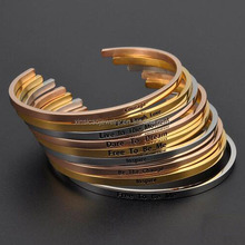 3MM Wide Stainless Steel Silver Cuff Engrave Bangle Bracelet for Ladies Inspiration Jewelry