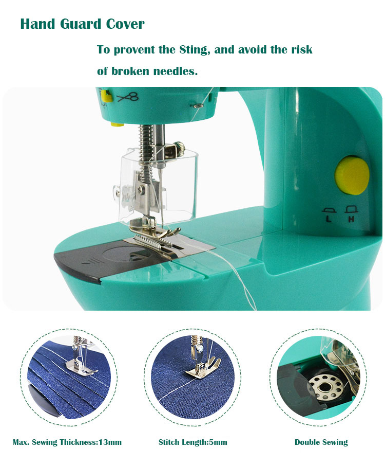 Kids girl  Portable Handheld Domestic Household Hand Mini Stitching Overlock Sewing Machine With Table stand Foot pedal